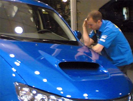Xevi Pons, instantánea con el Subaru Impreza WRX